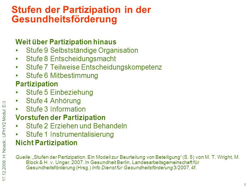 17.12.2009. H. Noack:: UPH V2 Modul E-3 8 Stufen der Partizipation in der Gesundheitsförderung Weit über Partizipation hinaus Stufe 9 Selbstständige O