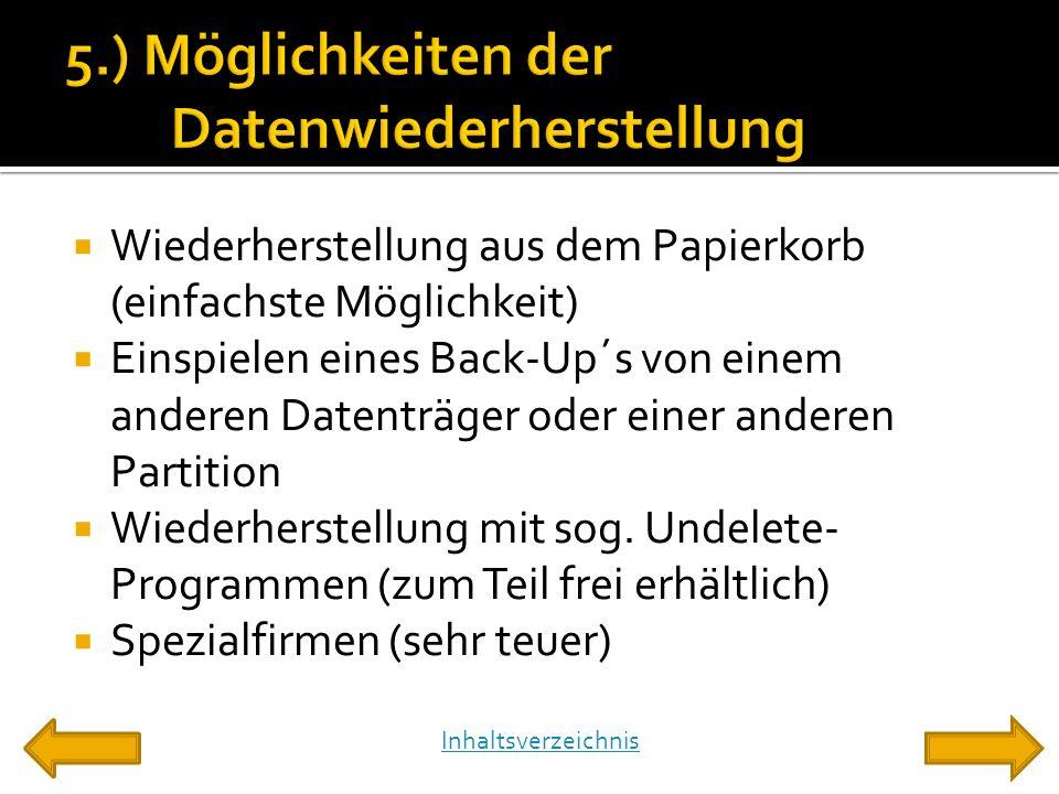  Wiederherstellung aus dem Papierkorb (einfachste Möglichkeit)  Einspielen eines Back-Up´s von einem anderen Datenträger oder einer anderen Partition  Wiederherstellung mit sog.