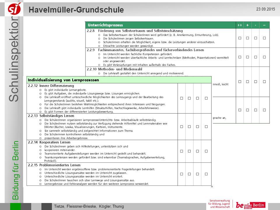 Bildung für Berlin Schulinspektion Havelmüller-Grundschule Tietze, Fleissner-Brieske, Kögler, Thunig 23.09.2015