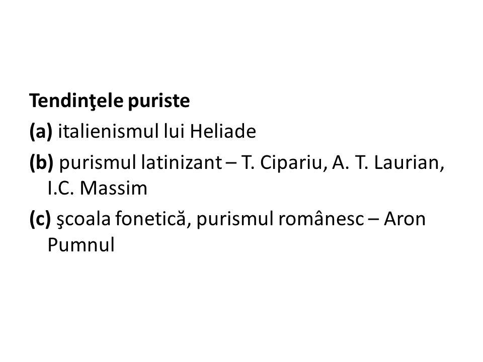 Tendinţele puriste (a) italienismul lui Heliade (b) purismul latinizant – T.