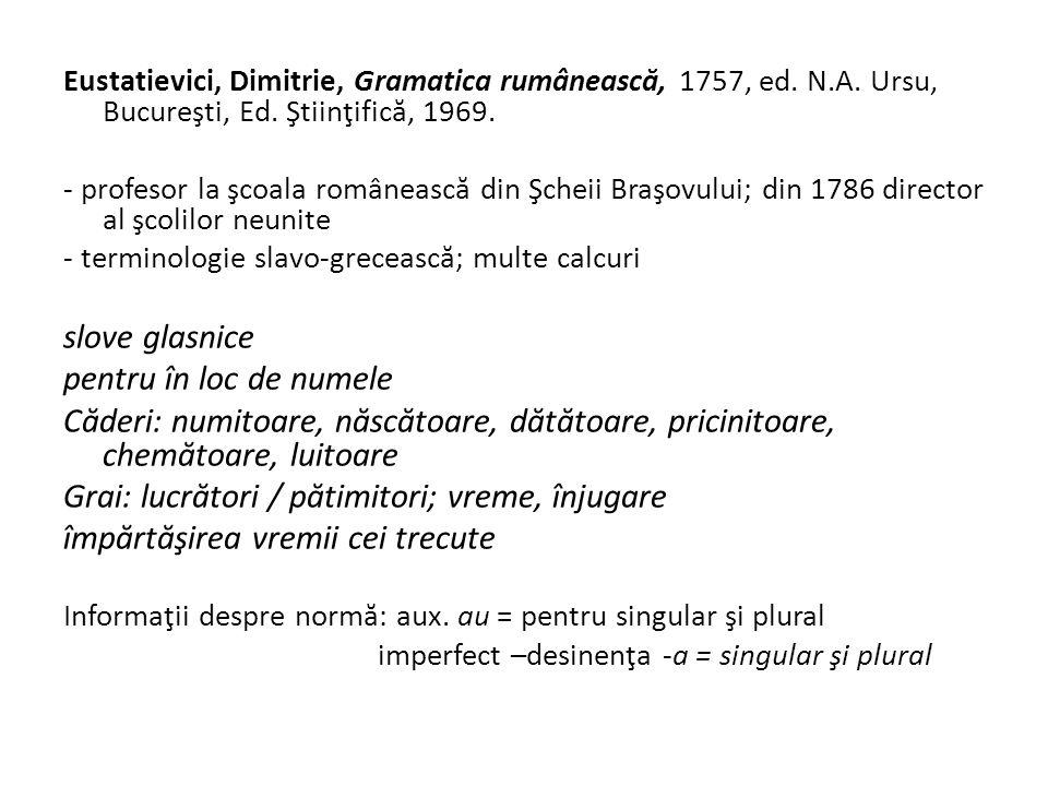 Eustatievici, Dimitrie, Gramatica rumâneasc ă, 1757, ed.