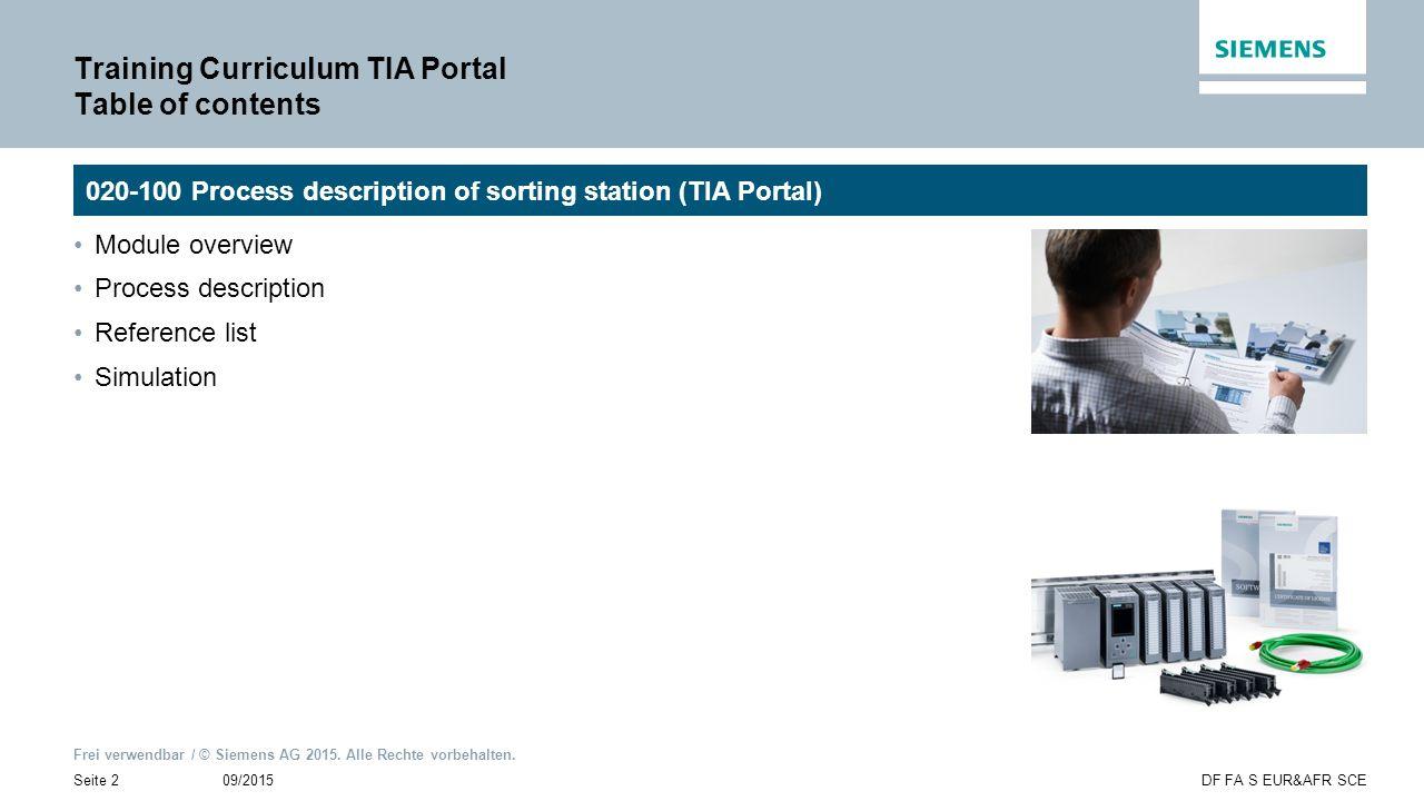 Frei verwendbar / © Siemens AG 2015. Alle Rechte vorbehalten. 09/2015Seite 2DF FA S EUR&AFR SCE Training Curriculum TIA Portal Table of contents Modul