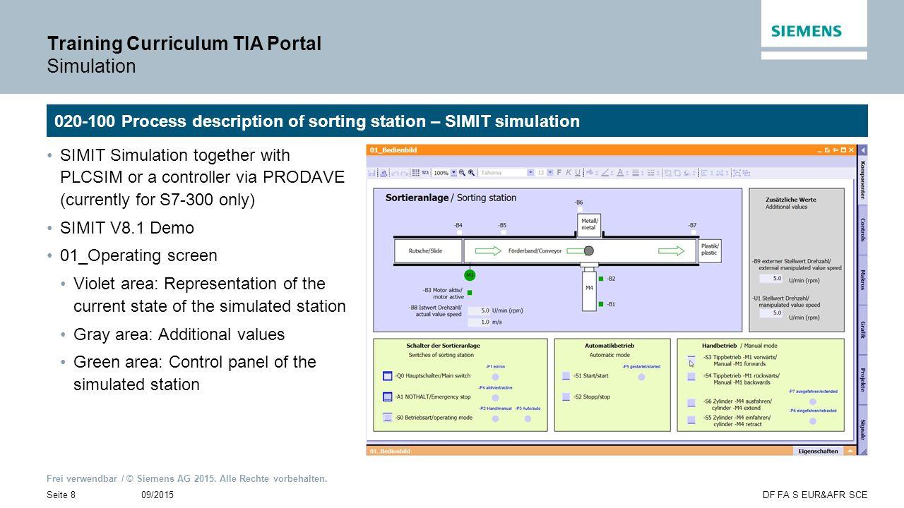Frei verwendbar / © Siemens AG 2015. Alle Rechte vorbehalten. 09/2015Seite 8DF FA S EUR&AFR SCE Training Curriculum TIA Portal Simulation 020-100 Proc