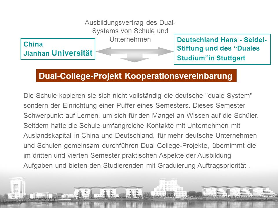 Deutschland Hans - Seidel- Stiftung und des Duales Studium in Stuttgart Ausbildungsvertrag des Dual- Systems von Schule und Unternehmen Dual-College-Projekt Kooperationsvereinbarung Die Schule kopieren sie sich nicht vollständig die deutsche duale System sondern der Einrichtung einer Puffer eines Semesters.