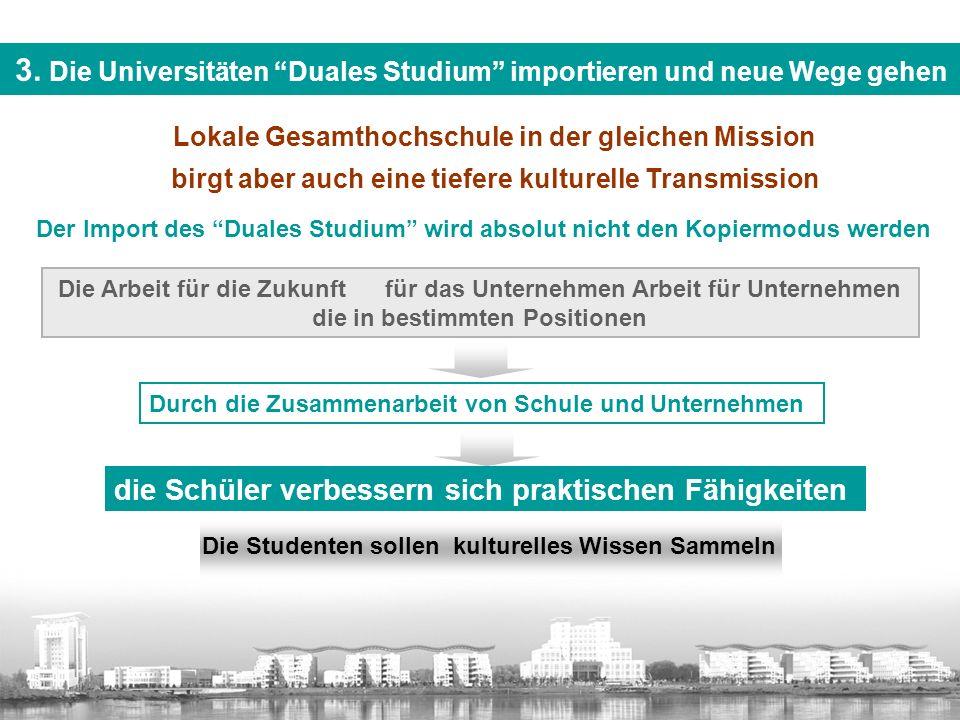 """Lokale Gesamthochschule in der gleichen Mission birgt aber auch eine tiefere kulturelle Transmission 3. Die Universitäten """"Duales Studium"""" importieren"""