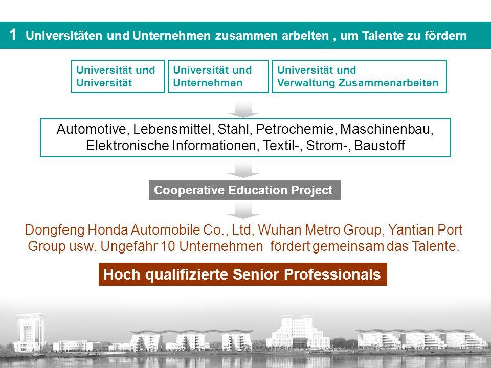 Universität und Unternehmen 1 Universitäten und Unternehmen zusammen arbeiten, um Talente zu fördern Automotive, Lebensmittel, Stahl, Petrochemie, Mas