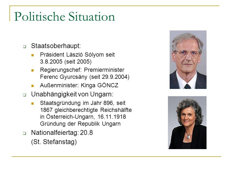 Politische Situation  Staatsoberhaupt: Präsident Làszló Sólyom seit 3.8.2005 (seit 2005) Regierungschef: Premierminister Ferenc Gyurcsány (seit 29.9.