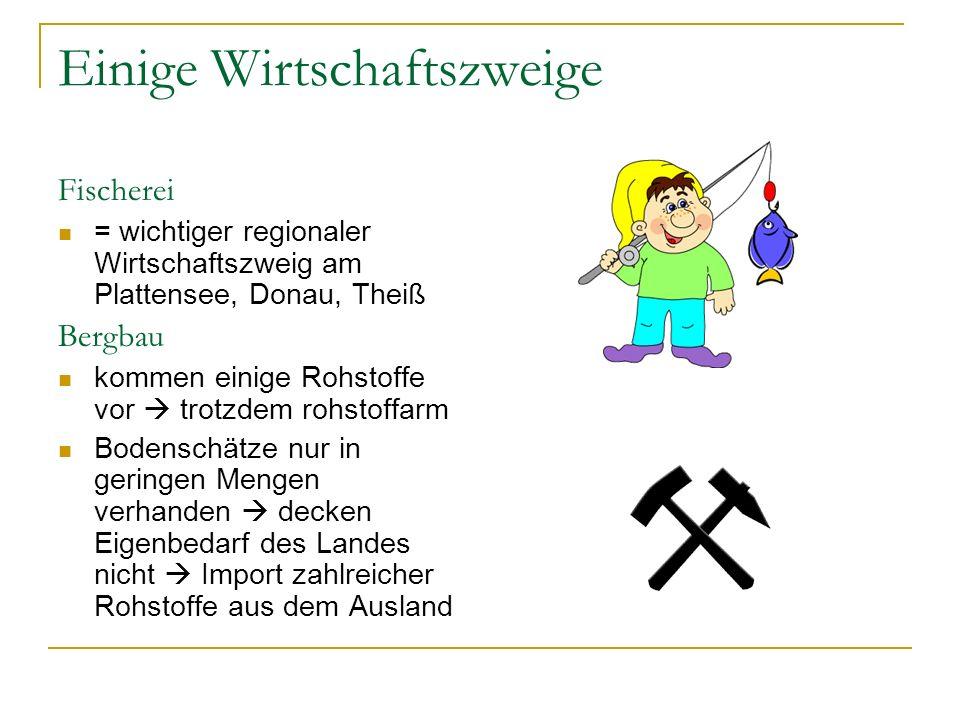 Einige Wirtschaftszweige Fischerei = wichtiger regionaler Wirtschaftszweig am Plattensee, Donau, Theiß Bergbau kommen einige Rohstoffe vor  trotzdem