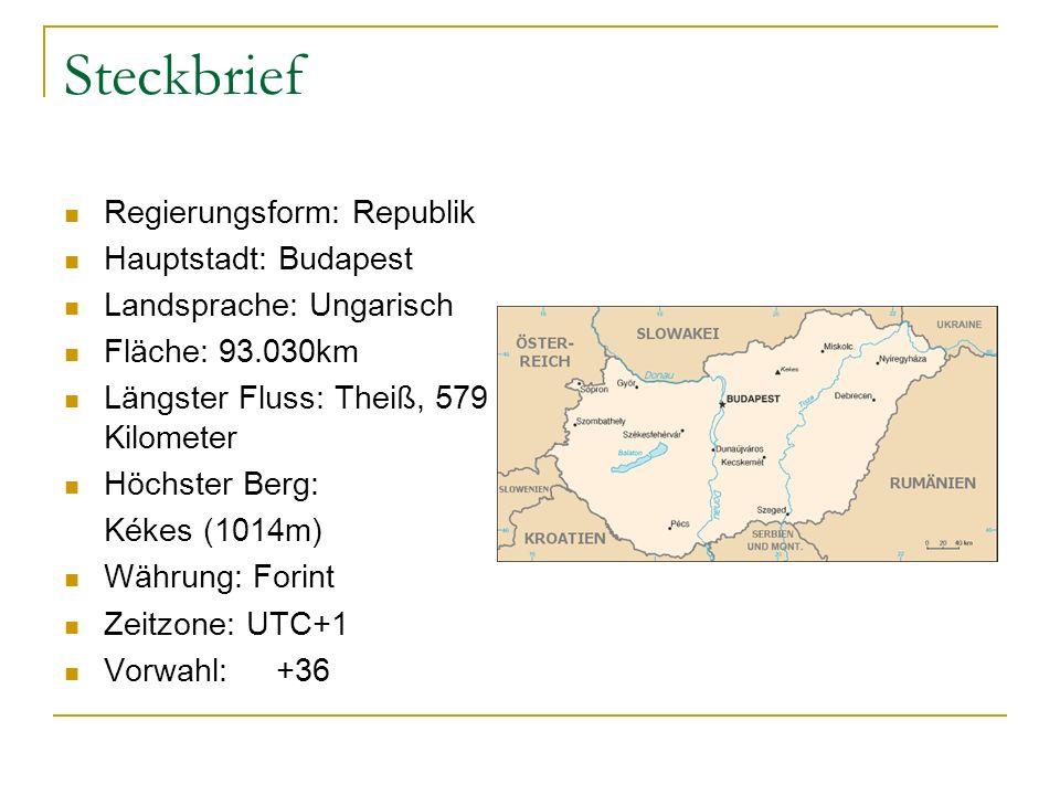 Steckbrief Regierungsform: Republik Hauptstadt: Budapest Landsprache: Ungarisch Fläche: 93.030km Längster Fluss: Theiß, 579 Kilometer Höchster Berg: Kékes (1014m) Währung: Forint Zeitzone: UTC+1 Vorwahl:+36