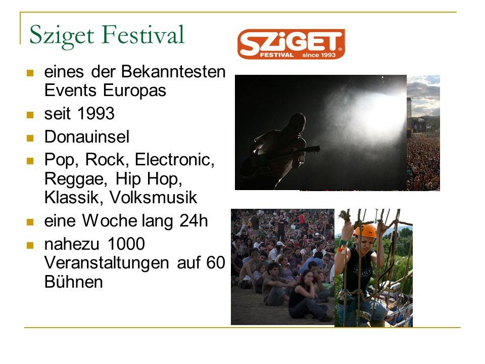 Sziget Festival eines der Bekanntesten Events Europas seit 1993 Donauinsel Pop, Rock, Electronic, Reggae, Hip Hop, Klassik, Volksmusik eine Woche lang 24h nahezu 1000 Veranstaltungen auf 60 Bühnen