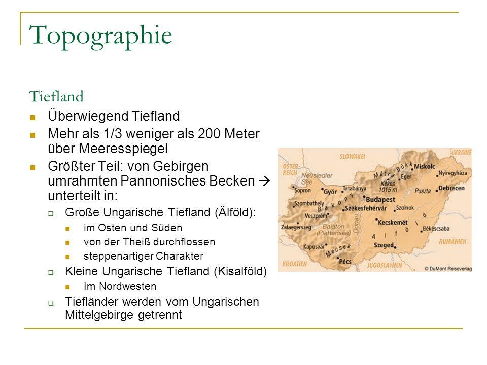 Topographie Tiefland Überwiegend Tiefland Mehr als 1/3 weniger als 200 Meter über Meeresspiegel Größter Teil: von Gebirgen umrahmten Pannonisches Becken  unterteilt in:  Große Ungarische Tiefland (Älföld): im Osten und Süden von der Theiß durchflossen steppenartiger Charakter  Kleine Ungarische Tiefland (Kisalföld) Im Nordwesten  Tiefländer werden vom Ungarischen Mittelgebirge getrennt
