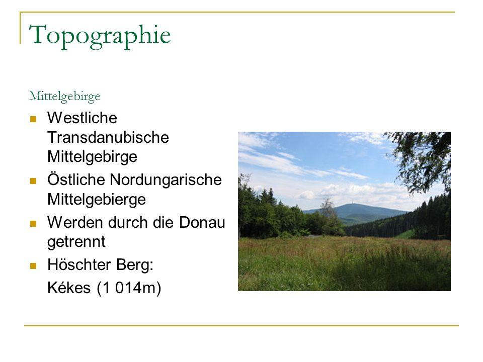 Topographie Mittelgebirge Westliche Transdanubische Mittelgebirge Östliche Nordungarische Mittelgebierge Werden durch die Donau getrennt Höschter Berg: Kékes (1 014m)