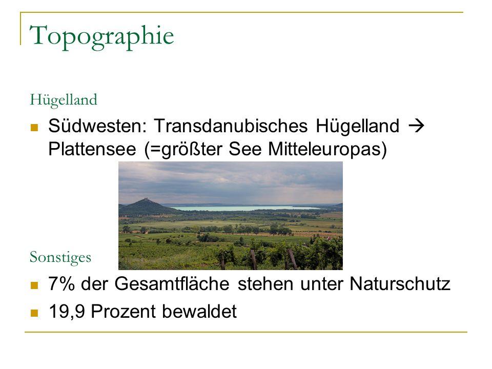 Topographie Hügelland Südwesten: Transdanubisches Hügelland  Plattensee (=größter See Mitteleuropas) Sonstiges 7% der Gesamtfläche stehen unter Naturschutz 19,9 Prozent bewaldet