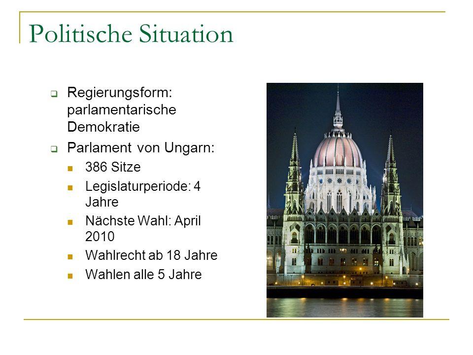 Politische Situation  Regierungsform: parlamentarische Demokratie  Parlament von Ungarn: 386 Sitze Legislaturperiode: 4 Jahre Nächste Wahl: April 2010 Wahlrecht ab 18 Jahre Wahlen alle 5 Jahre