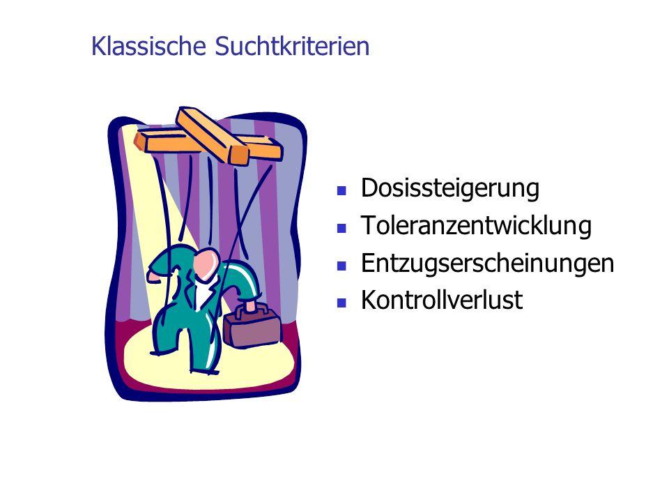 Klassische Suchtkriterien Dosissteigerung Toleranzentwicklung Entzugserscheinungen Kontrollverlust