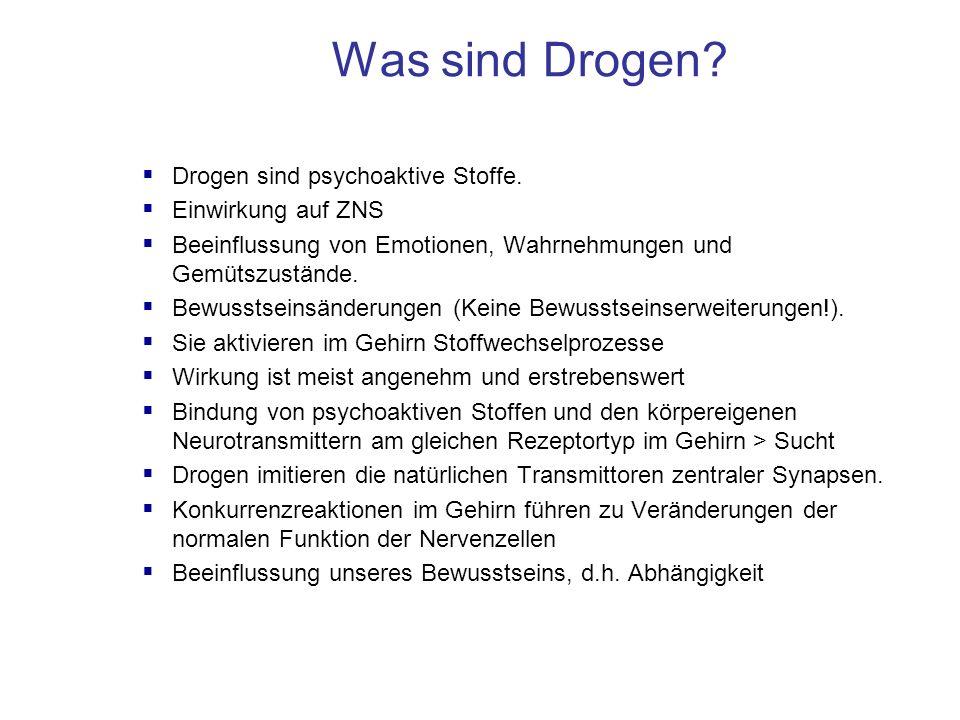 Was sind Drogen?  Drogen sind psychoaktive Stoffe.  Einwirkung auf ZNS  Beeinflussung von Emotionen, Wahrnehmungen und Gemütszustände.  Bewusstsei