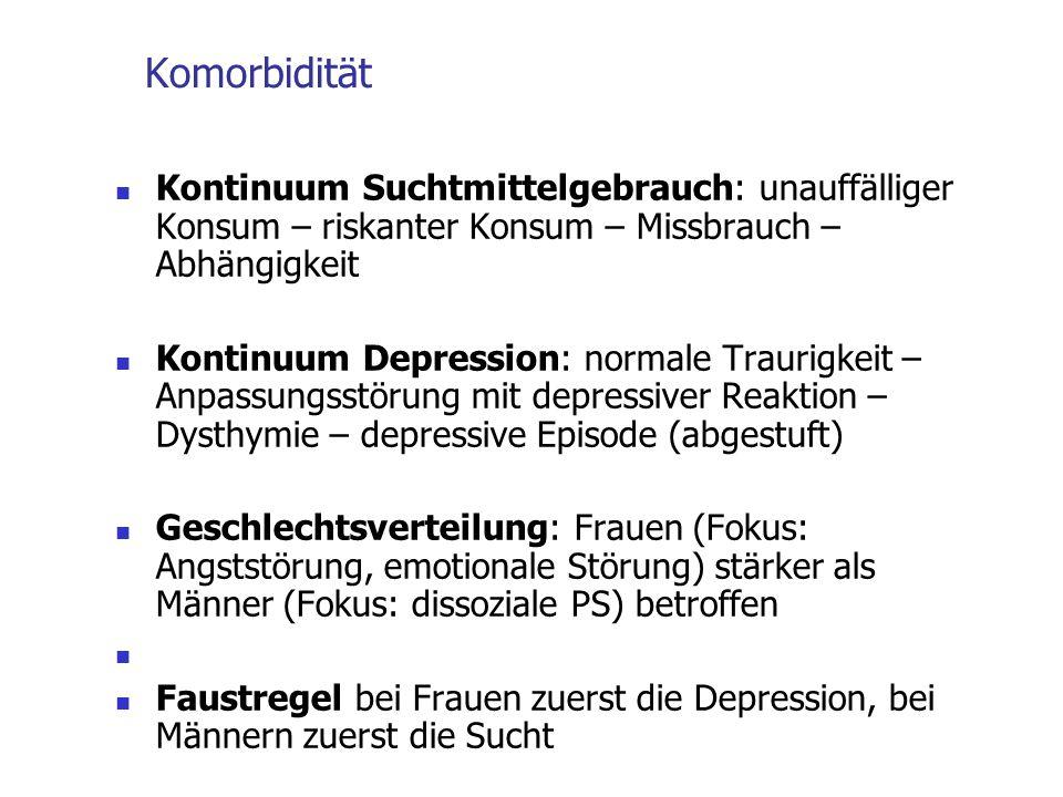 Komorbidität Kontinuum Suchtmittelgebrauch: unauffälliger Konsum – riskanter Konsum – Missbrauch – Abhängigkeit Kontinuum Depression: normale Traurigk