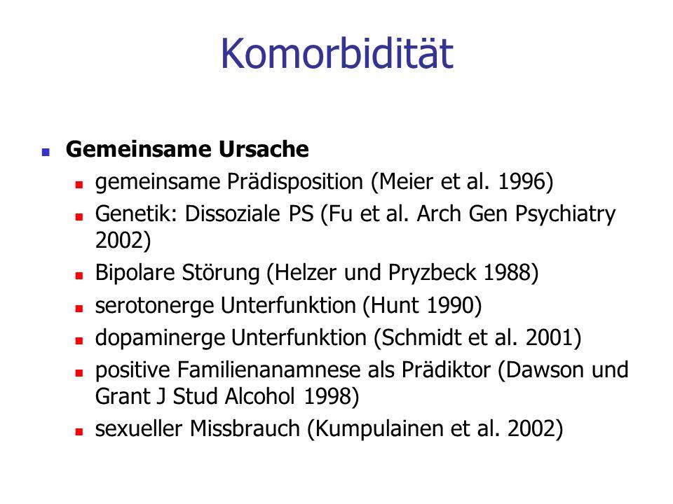 Gemeinsame Ursache gemeinsame Prädisposition (Meier et al. 1996) Genetik: Dissoziale PS (Fu et al. Arch Gen Psychiatry 2002) Bipolare Störung (Helzer