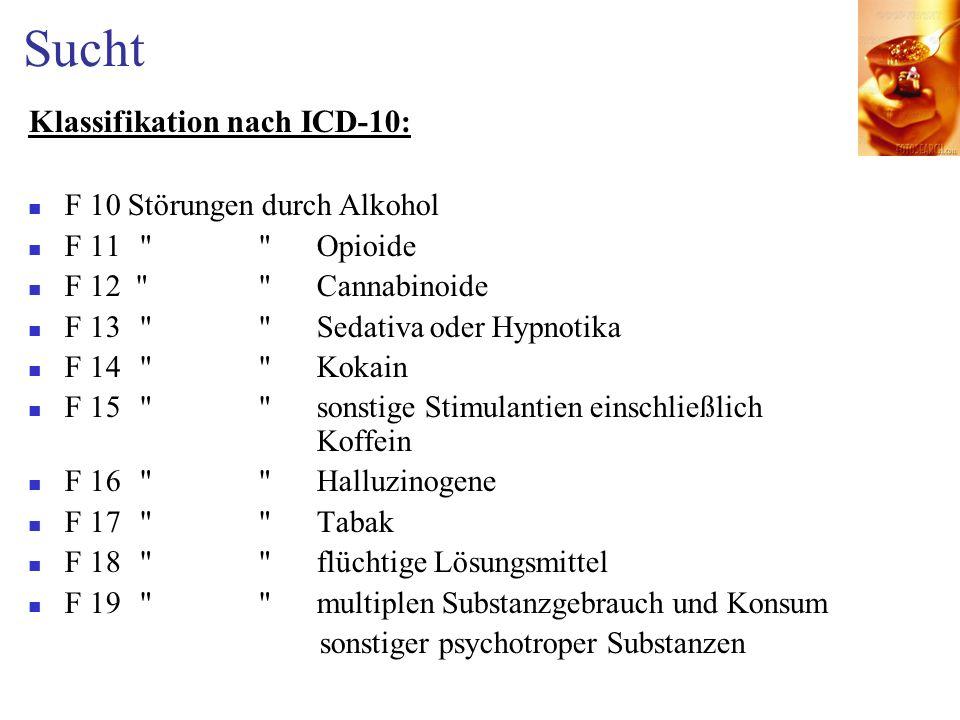 Sucht Klassifikation nach ICD-10: F 10 Störungen durch Alkohol F 11