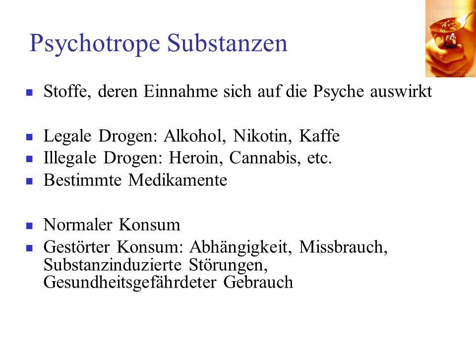 Psychotrope Substanzen Stoffe, deren Einnahme sich auf die Psyche auswirkt Legale Drogen: Alkohol, Nikotin, Kaffe Illegale Drogen: Heroin, Cannabis, e