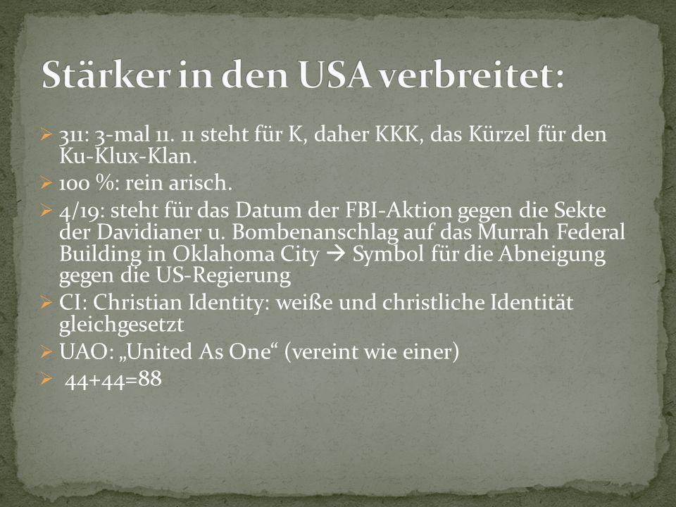  311: 3-mal 11. 11 steht für K, daher KKK, das Kürzel für den Ku-Klux-Klan.  100 %: rein arisch.  4/19: steht für das Datum der FBI-Aktion gegen di