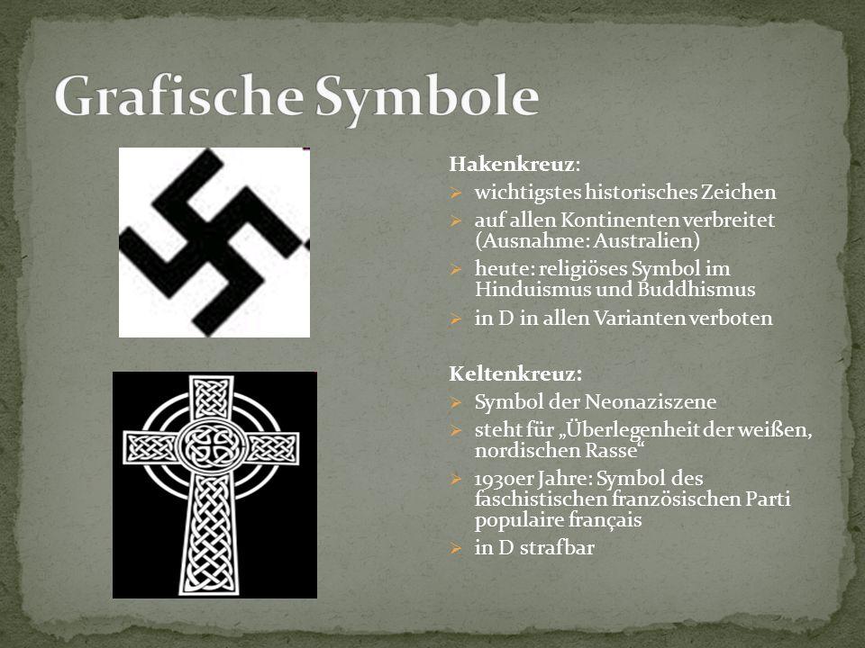 Hakenkreuz:  wichtigstes historisches Zeichen  auf allen Kontinenten verbreitet (Ausnahme: Australien)  heute: religiöses Symbol im Hinduismus und