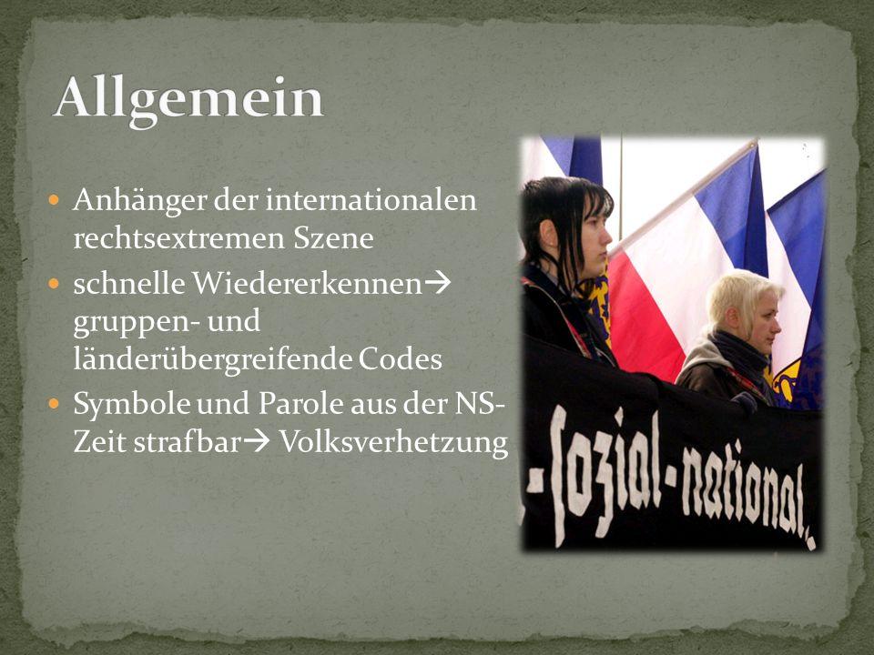Anhänger der internationalen rechtsextremen Szene schnelle Wiedererkennen  gruppen- und länderübergreifende Codes Symbole und Parole aus der NS- Zeit