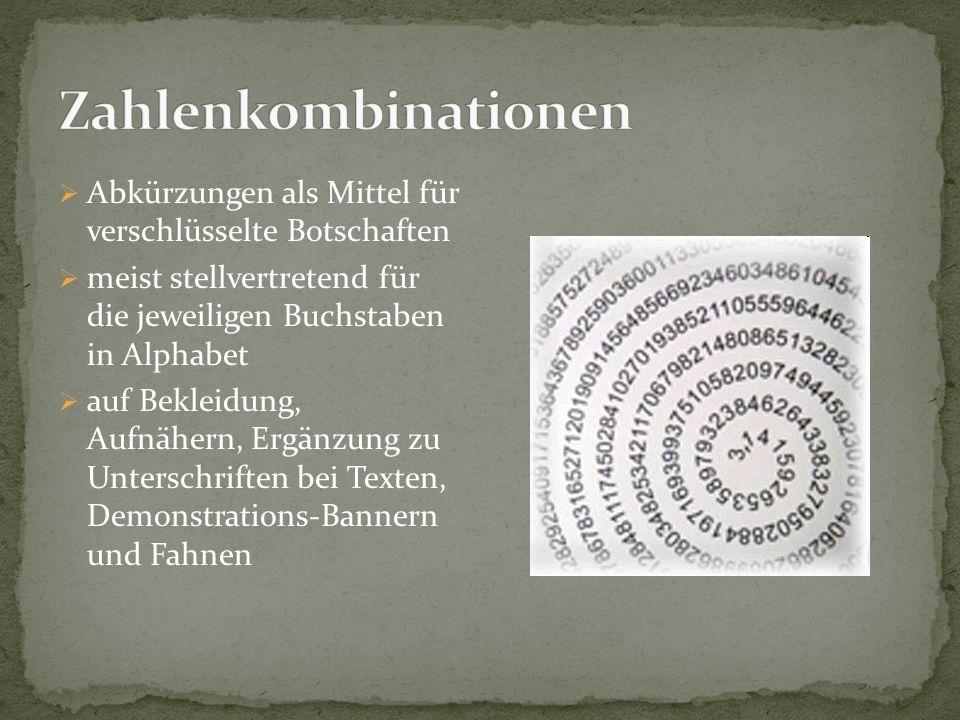  Abkürzungen als Mittel für verschlüsselte Botschaften  meist stellvertretend für die jeweiligen Buchstaben in Alphabet  auf Bekleidung, Aufnähern,