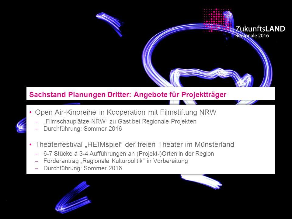 """Open Air-Kinoreihe in Kooperation mit Filmstiftung NRW  """"Filmschauplätze NRW"""" zu Gast bei Regionale-Projekten  Durchführung: Sommer 2016 Theaterfest"""