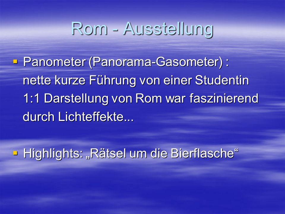 Rom - Ausstellung  Panometer (Panorama-Gasometer) : nette kurze Führung von einer Studentin nette kurze Führung von einer Studentin 1:1 Darstellung von Rom war faszinierend 1:1 Darstellung von Rom war faszinierend durch Lichteffekte...