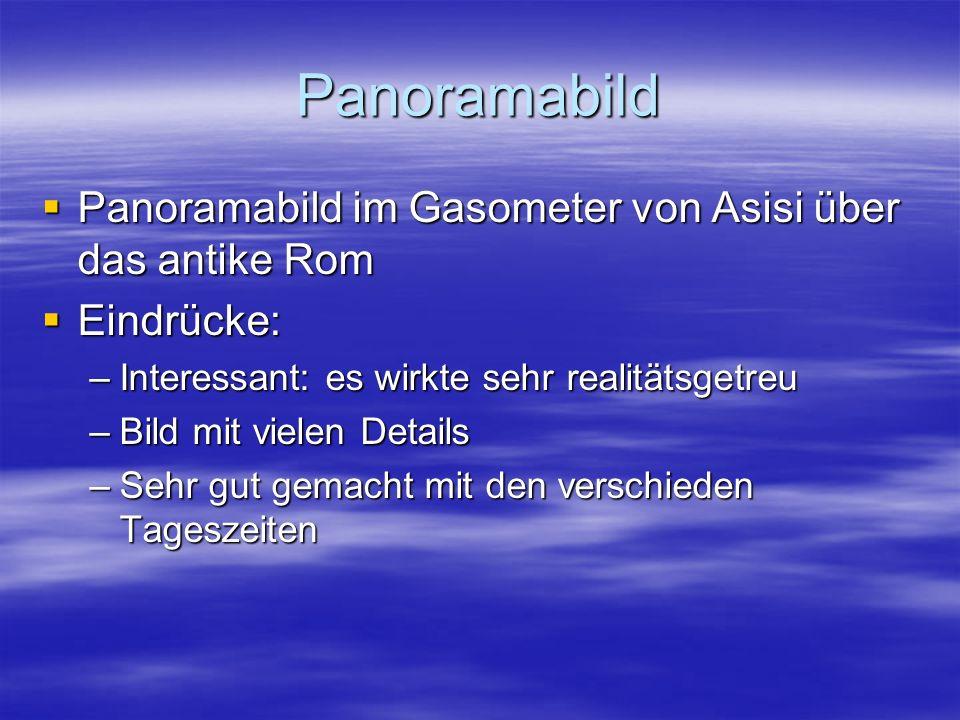 Panoramabild  Panoramabild im Gasometer von Asisi über das antike Rom  Eindrücke: –Interessant: es wirkte sehr realitätsgetreu –Bild mit vielen Details –Sehr gut gemacht mit den verschieden Tageszeiten