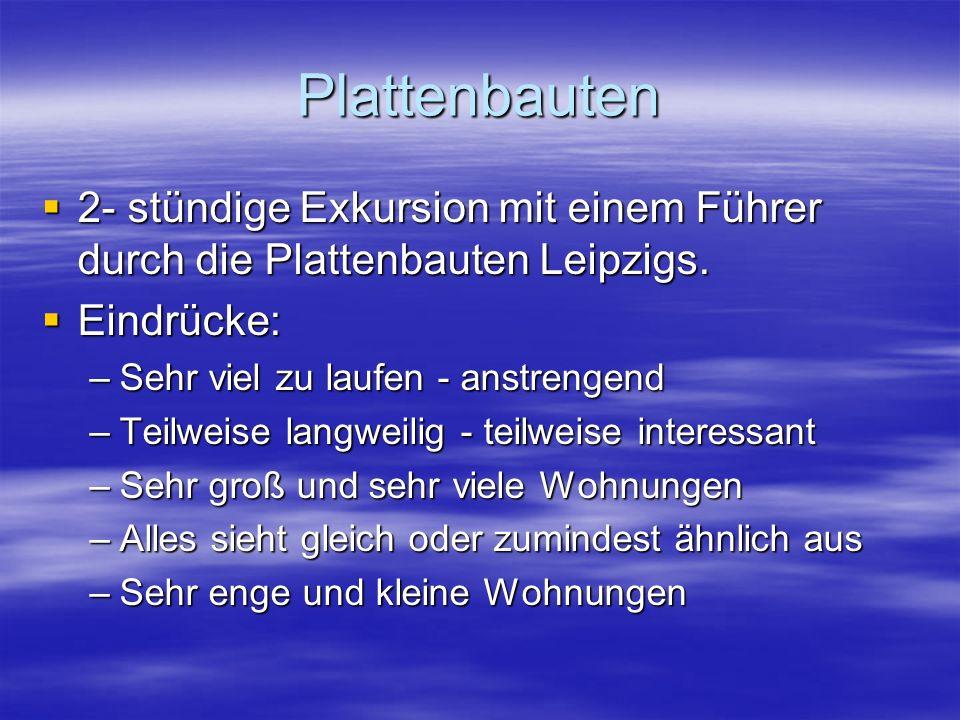 Plattenbauten  2- stündige Exkursion mit einem Führer durch die Plattenbauten Leipzigs.