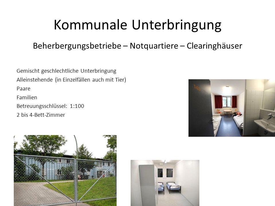 Kommunale Unterbringung Beherbergungsbetriebe – Notquartiere – Clearinghäuser Gemischt geschlechtliche Unterbringung Alleinstehende (in Einzelfällen a