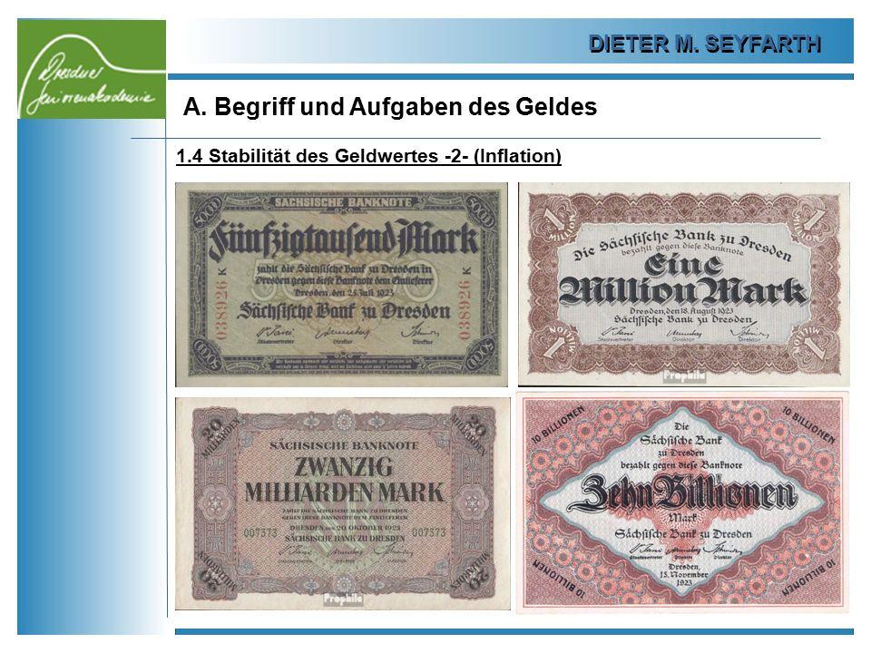 DIETER M. SEYFARTH A. Begriff und Aufgaben des Geldes 13 1.4 Stabilität des Geldwertes -2- (Inflation)