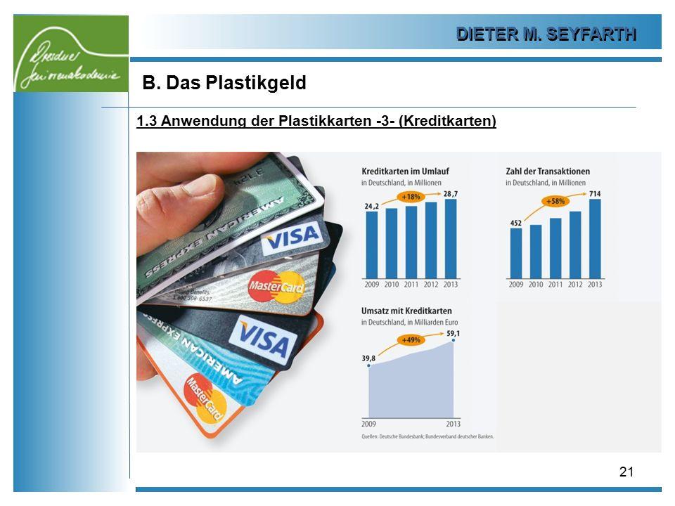DIETER M. SEYFARTH B. Das Plastikgeld 21 1.3 Anwendung der Plastikkarten -3- (Kreditkarten)
