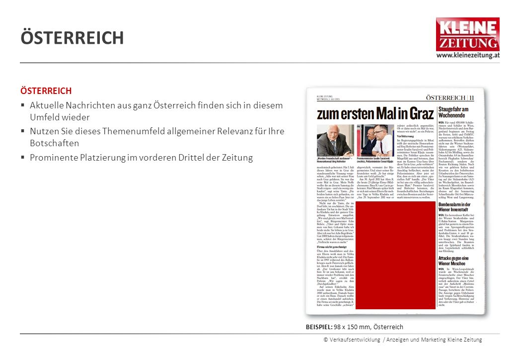 © Verkaufsentwicklung / Anzeigen und Marketing Kleine Zeitung ÖSTERREICH  Aktuelle Nachrichten aus ganz Österreich finden sich in diesem Umfeld wiede