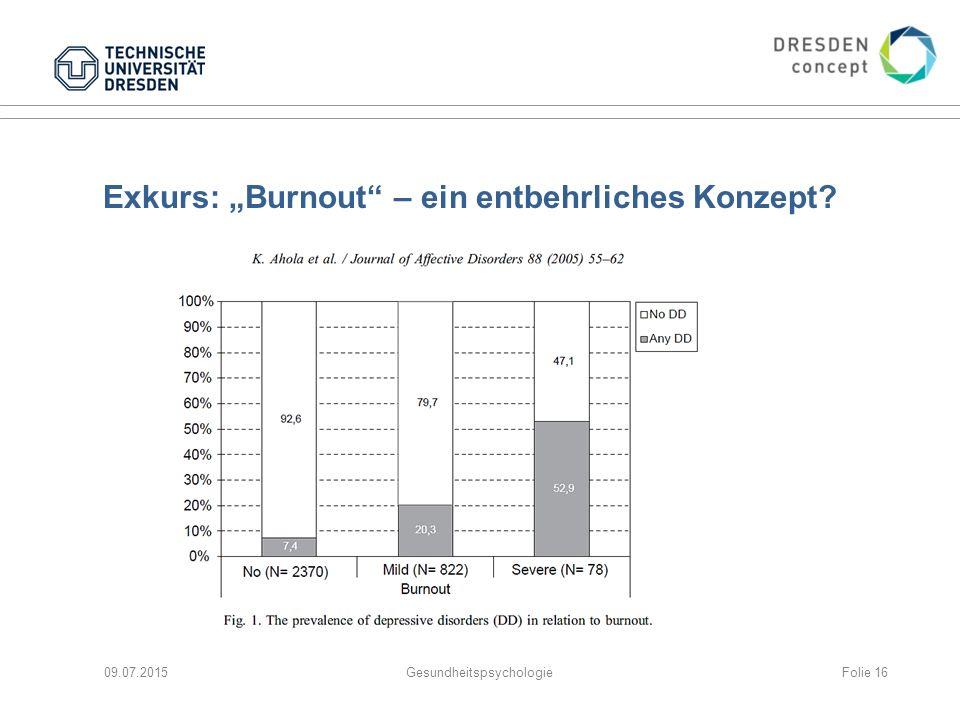 """Exkurs: """"Burnout"""" – ein entbehrliches Konzept? 09.07.2015GesundheitspsychologieFolie 16"""