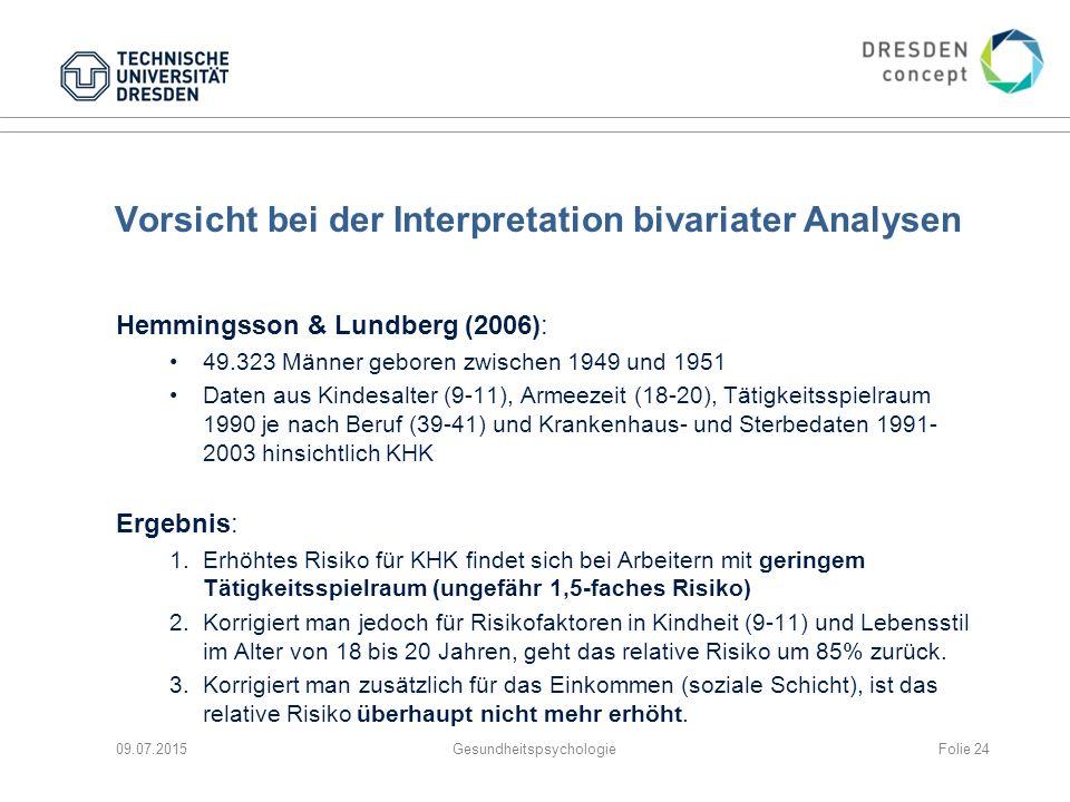Vorsicht bei der Interpretation bivariater Analysen Hemmingsson & Lundberg (2006): 49.323 Männer geboren zwischen 1949 und 1951 Daten aus Kindesalter