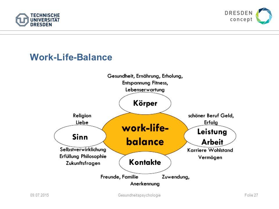 Work-Life-Balance 09.07.2015GesundheitspsychologieFolie 27