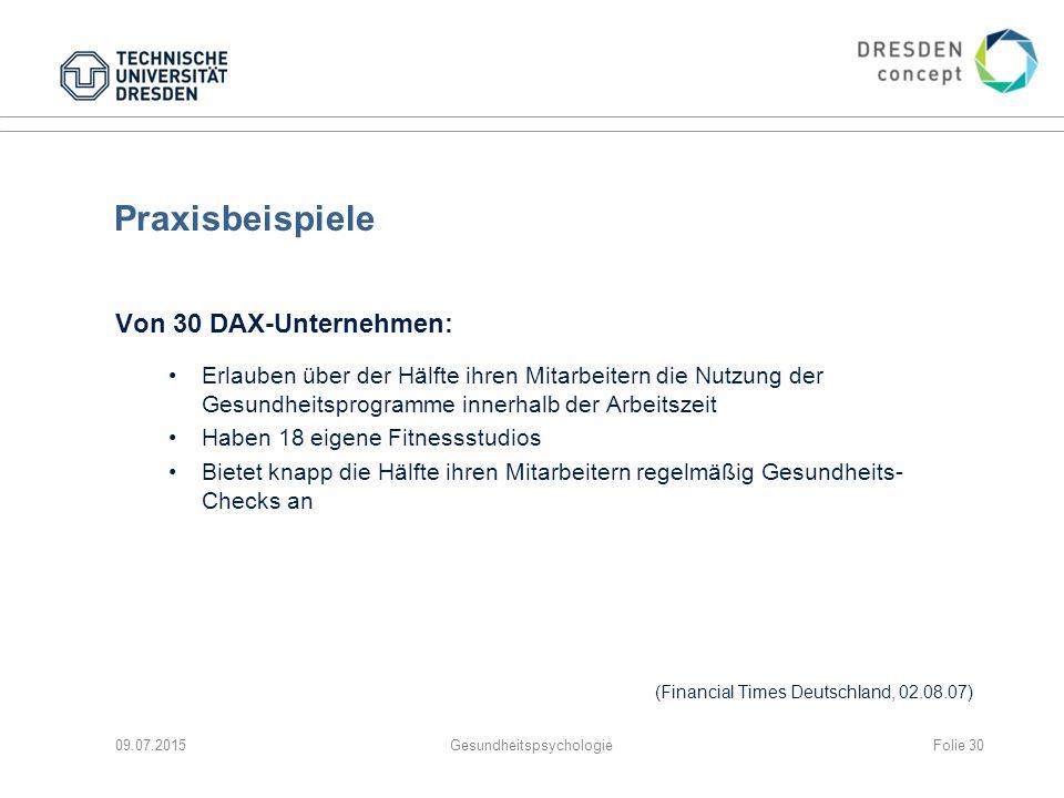 Praxisbeispiele Von 30 DAX-Unternehmen: Erlauben über der Hälfte ihren Mitarbeitern die Nutzung der Gesundheitsprogramme innerhalb der Arbeitszeit Hab