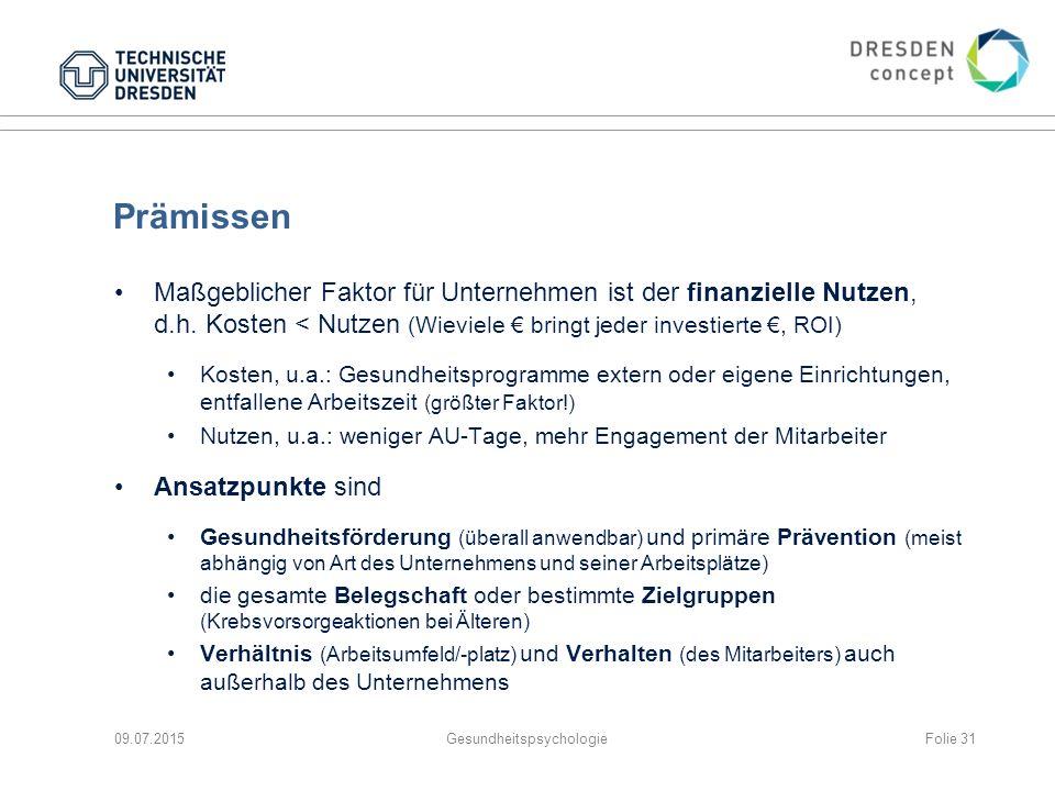 Prämissen Maßgeblicher Faktor für Unternehmen ist der finanzielle Nutzen, d.h. Kosten < Nutzen (Wieviele € bringt jeder investierte €, ROI) Kosten, u.
