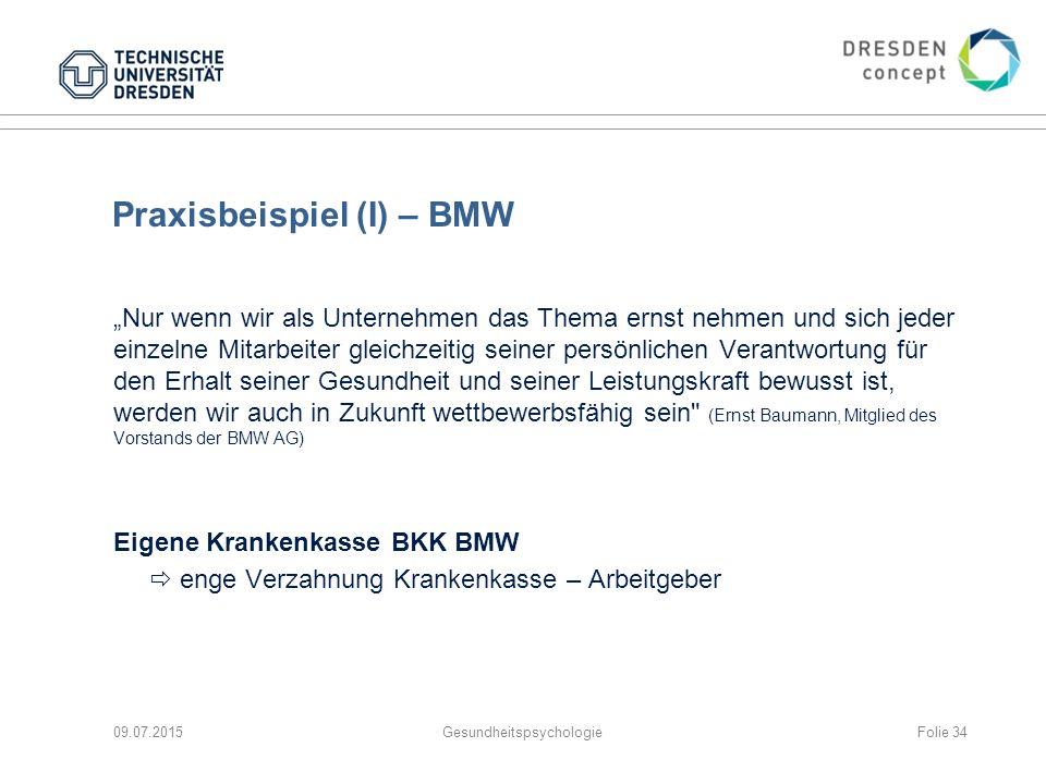 """Praxisbeispiel (I) – BMW """"Nur wenn wir als Unternehmen das Thema ernst nehmen und sich jeder einzelne Mitarbeiter gleichzeitig seiner persönlichen Ver"""