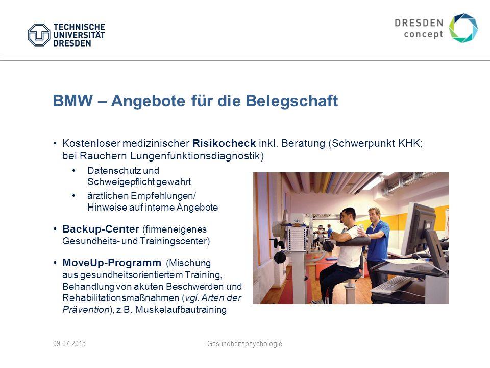 BMW – Angebote für die Belegschaft Kostenloser medizinischer Risikocheck inkl. Beratung (Schwerpunkt KHK; bei Rauchern Lungenfunktionsdiagnostik) Date