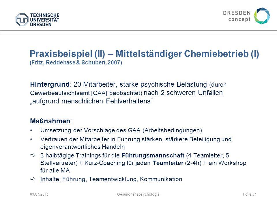 Praxisbeispiel (II) – Mittelständiger Chemiebetrieb (I) (Fritz, Reddehase & Schubert, 2007) Hintergrund: 20 Mitarbeiter, starke psychische Belastung (