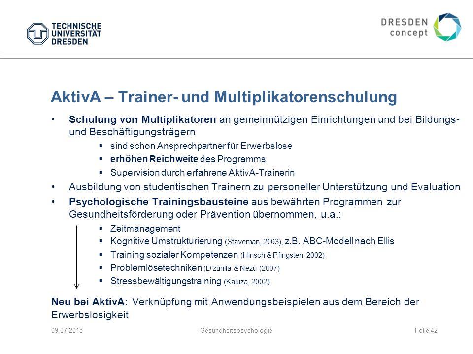 AktivA – Trainer- und Multiplikatorenschulung Schulung von Multiplikatoren an gemeinnützigen Einrichtungen und bei Bildungs- und Beschäftigungsträgern
