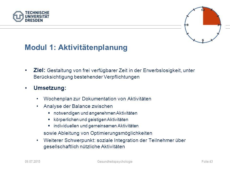 Modul 1: Aktivitätenplanung Ziel: Gestaltung von frei verfügbarer Zeit in der Erwerbslosigkeit, unter Berücksichtigung bestehender Verpflichtungen Ums