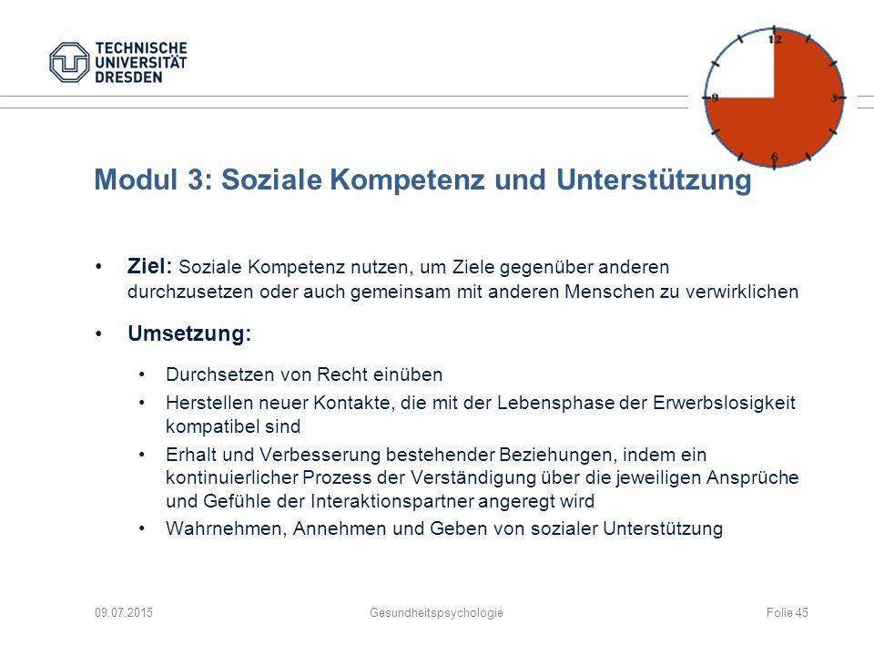 Modul 3: Soziale Kompetenz und Unterstützung Ziel: Soziale Kompetenz nutzen, um Ziele gegenüber anderen durchzusetzen oder auch gemeinsam mit anderen