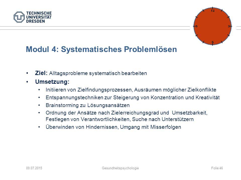 Modul 4: Systematisches Problemlösen Ziel: Alltagsprobleme systematisch bearbeiten Umsetzung: Initiieren von Zielfindungsprozessen, Ausräumen mögliche