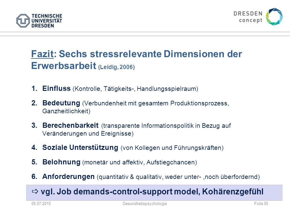 Fazit: Sechs stressrelevante Dimensionen der Erwerbsarbeit (Leidig, 2006) 1.Einfluss (Kontrolle, Tätigkeits-, Handlungsspielraum) 2.Bedeutung (Verbund