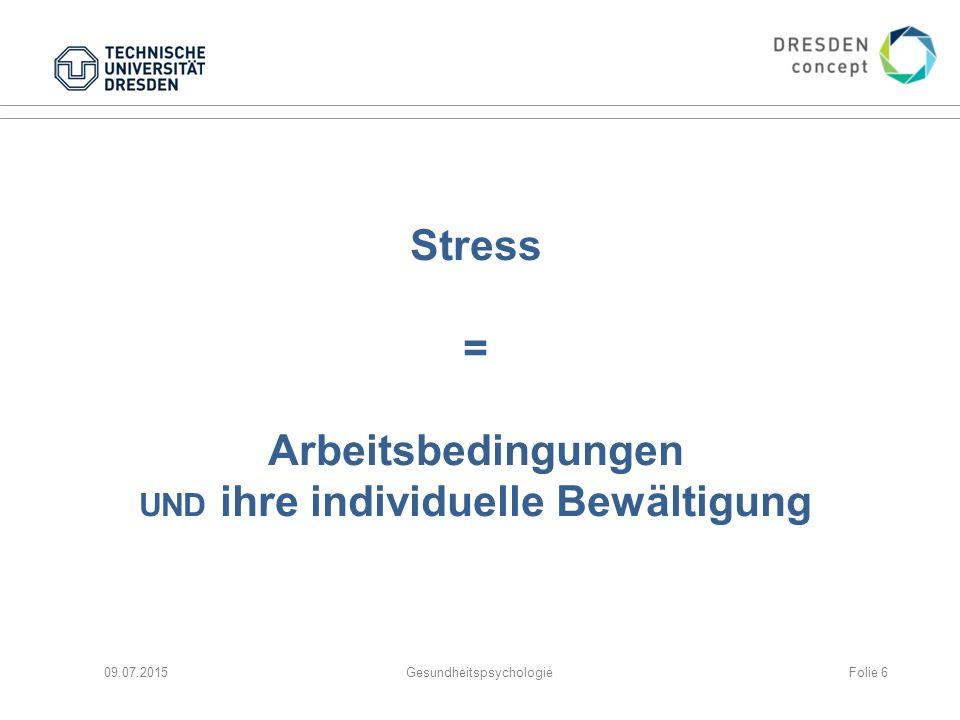 Stress = Arbeitsbedingungen UND ihre individuelle Bewältigung 09.07.2015GesundheitspsychologieFolie 6
